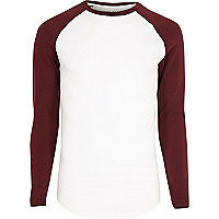 Big and Tall white and red raglan T-shirt