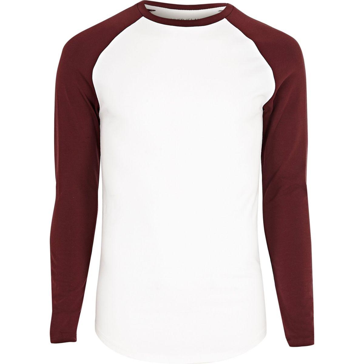 T-shirt Big & Tall blanc et rouge à manches raglan