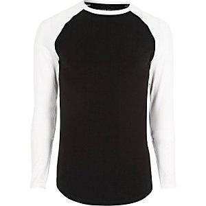 Big & Tall – Schwarzes T-Shirt mit Raglanärmeln