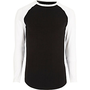 Big and Tall black raglan sleeve T-shirt