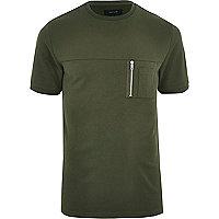 T-shirt vert kaki ras-du-cou à poche zippée