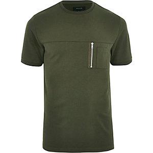 T-Shirt in Khaki mit Rundhalsausschnitt und Reißverschluss