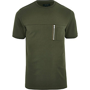Khaki green crew neck zip pocket T-shirt