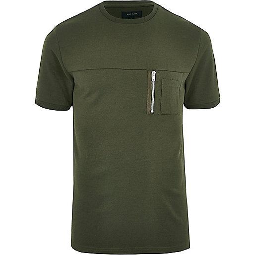 Khaki green crew neck zip pocket T-shirt