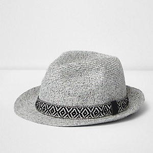 Grey geo trilby hat