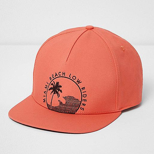 Orange 'Miami Beach' flat peak cap