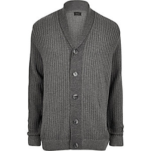 Big and Tall grey ribbed knit cardigan