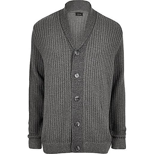 Big and Tall grey ribbed knit cardigan
