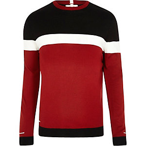 Red colour block slim fit jumper