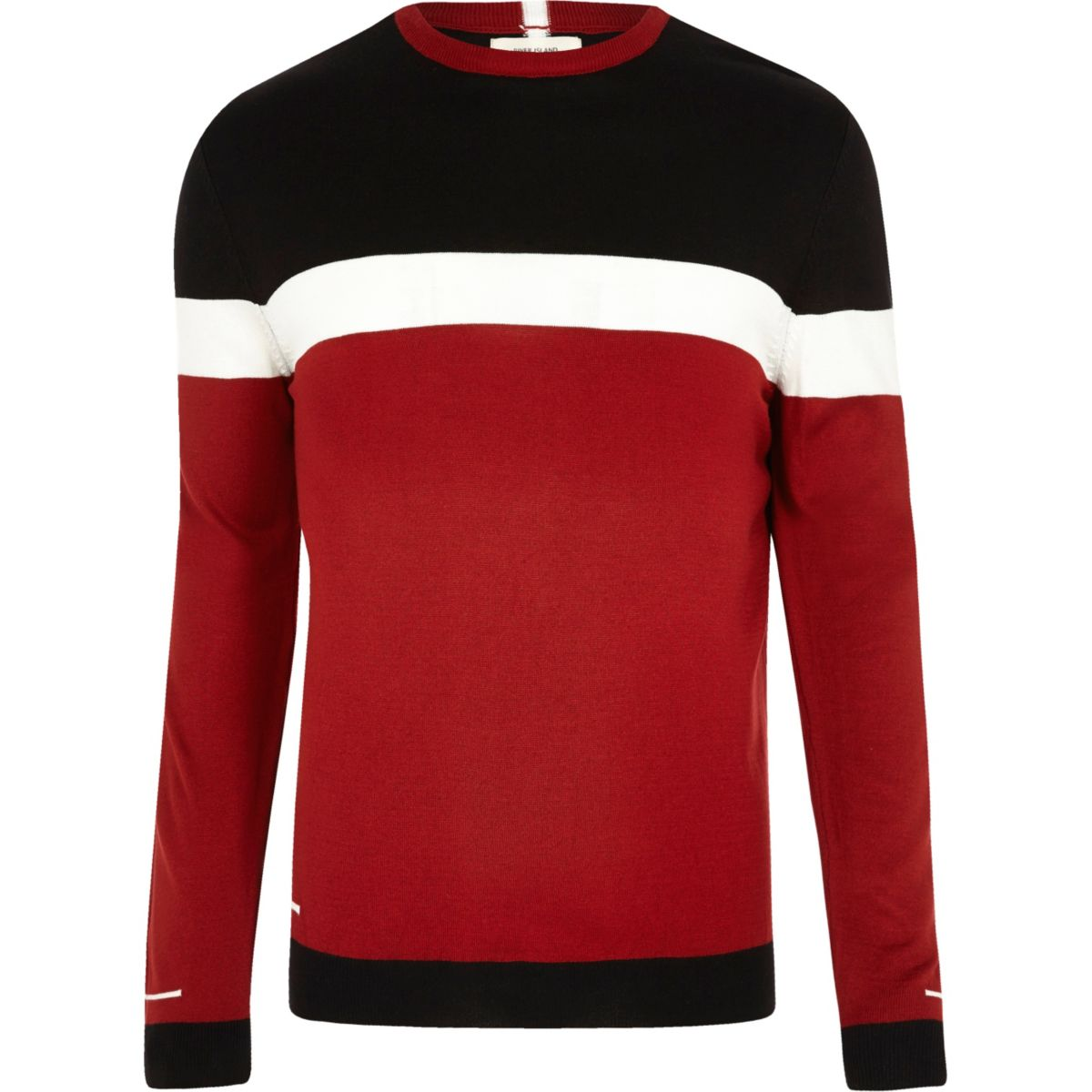 Red color block slim fit sweater