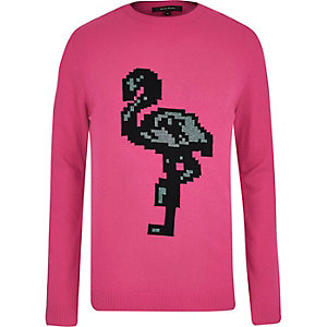 Bright pink flamingo print sweater
