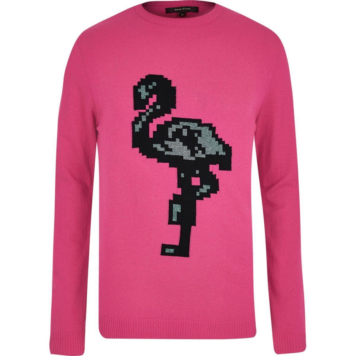 Bright pink flamingo print jumper