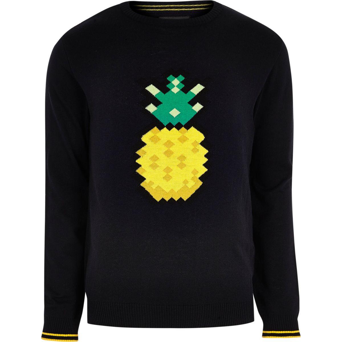 Navy blue pineapple print slim fit sweater
