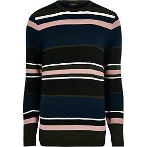 Black stripe slim fit sweater