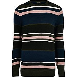 Zwarte gestreepte slim-fit pullover