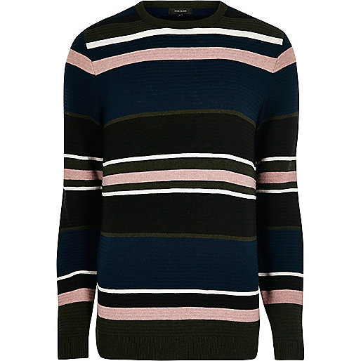 Black stripe slim fit jumper