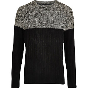 Stone ribbed knit color block sweater