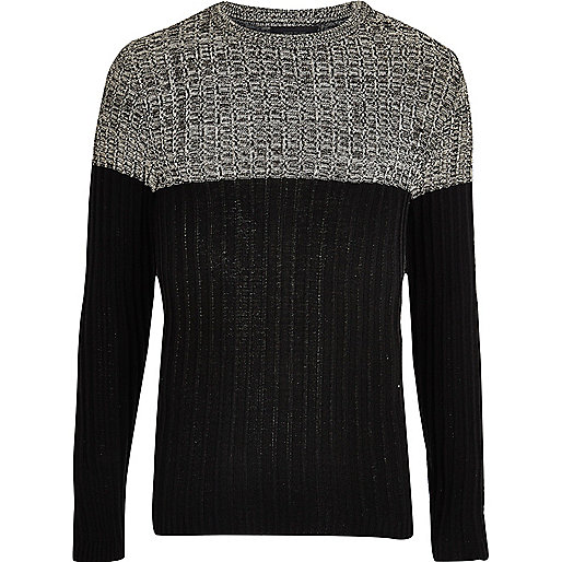 Stone ribbed knit colour block jumper