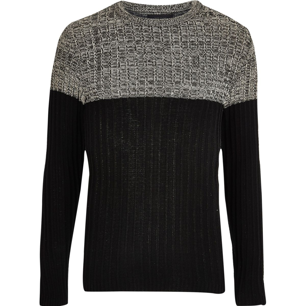 Stone ribbed knit colour block jumper