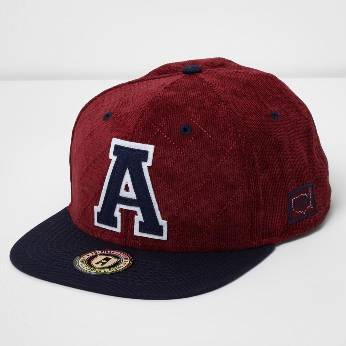 Dark red American Freshman flat peak cap