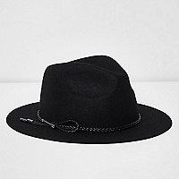 Chapeau fedora en feutre noir