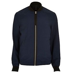 Navy contrast tape bomber jacket