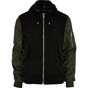 Black contrast sleeve hooded bomber jacket