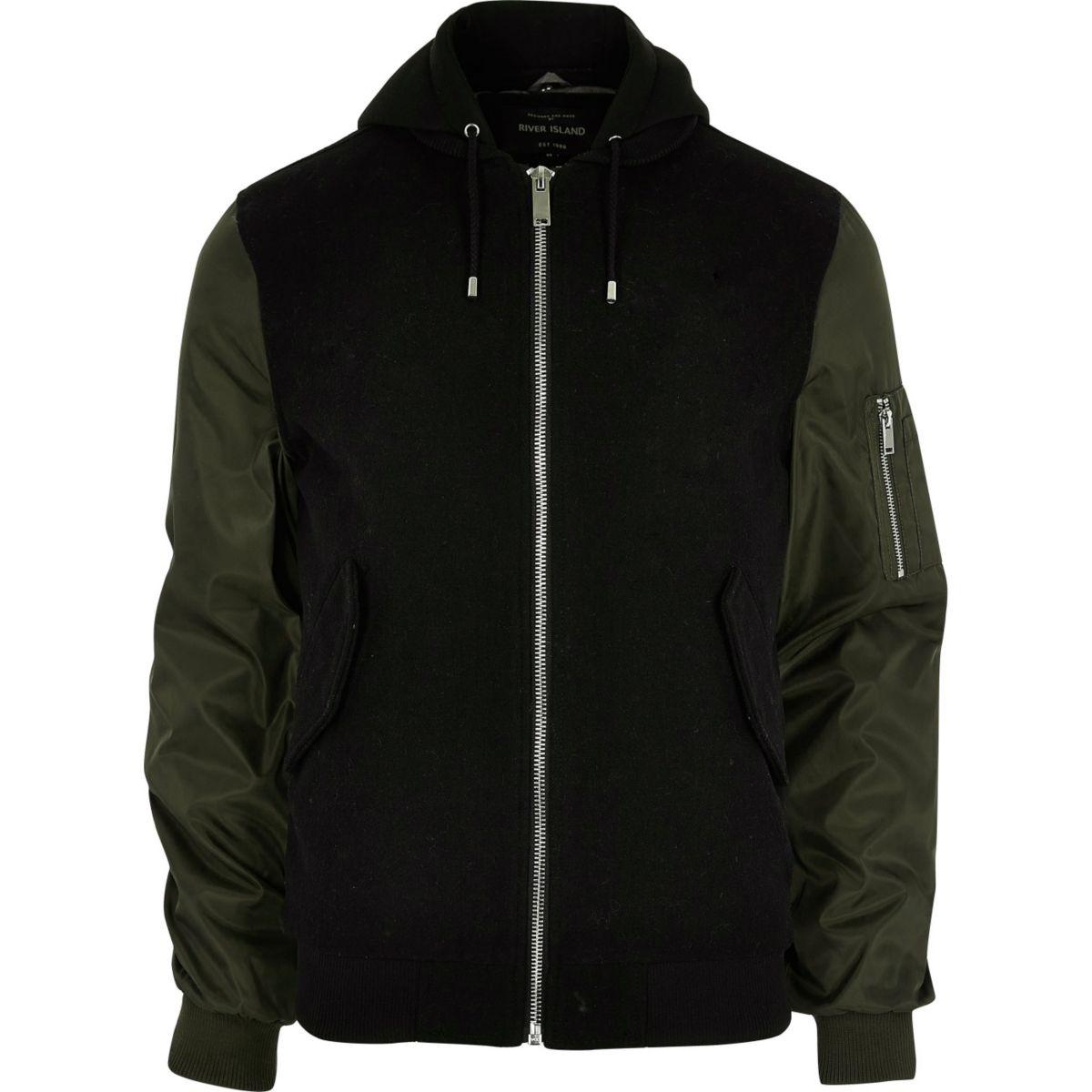 Black contrast sleeve hooded bomber jacket