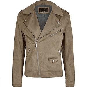 Stone faux suede biker jacket