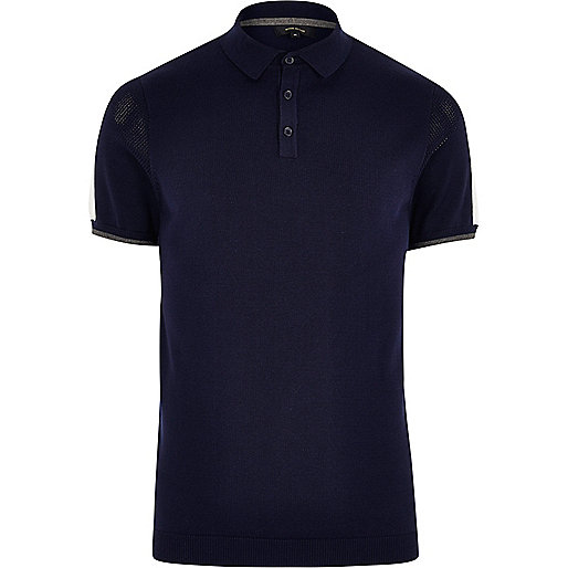 Navy mesh panel short sleeve polo