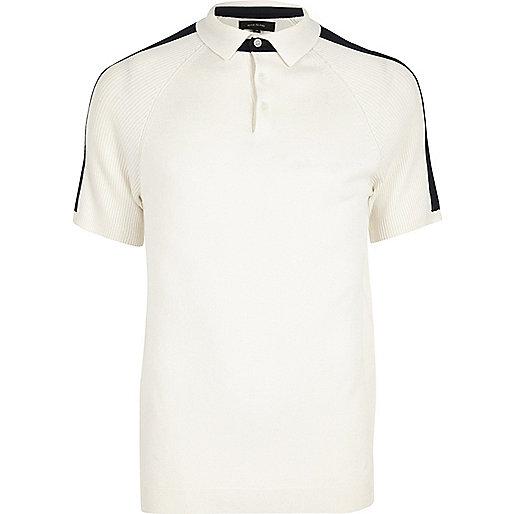 White ribbed raglan sleeve polo shirt