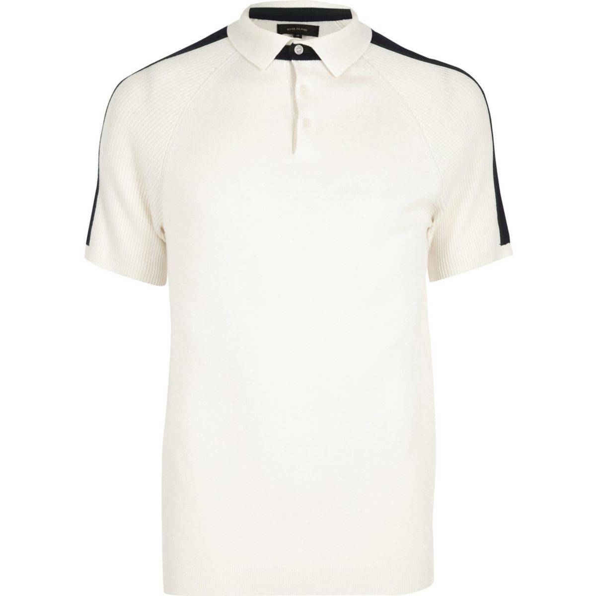 White ribbed raglan sleeve polo shirt