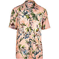 Big and Tall pink floral short sleeve shirt