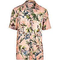 Big & Tall – Chemise à fleurs rose à manches courtes