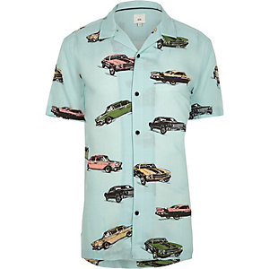 Big and Tall green car print revere shirt