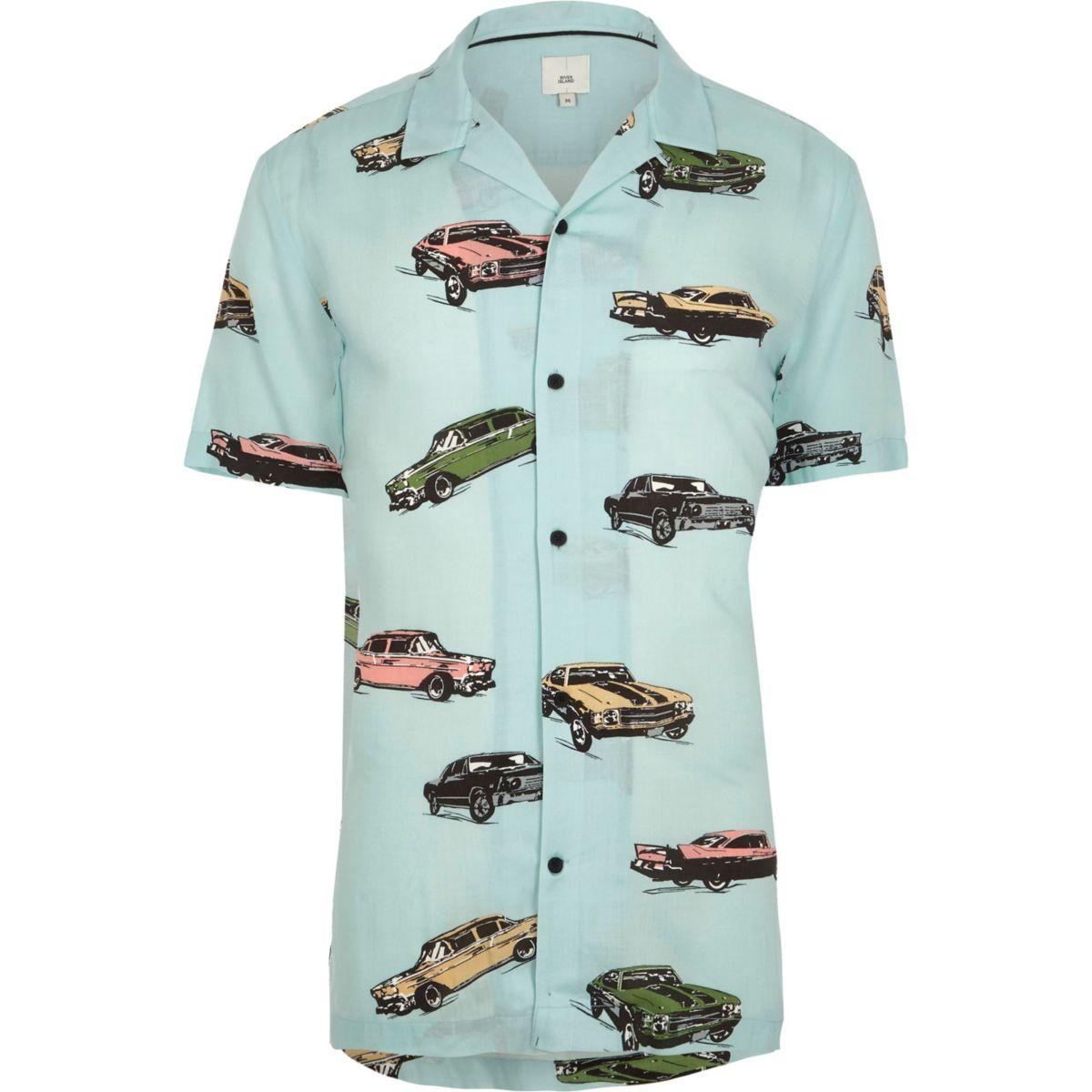 Big and Tall green car print revere shirt
