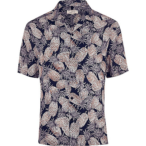 Big and Tall navy print short sleeve shirt