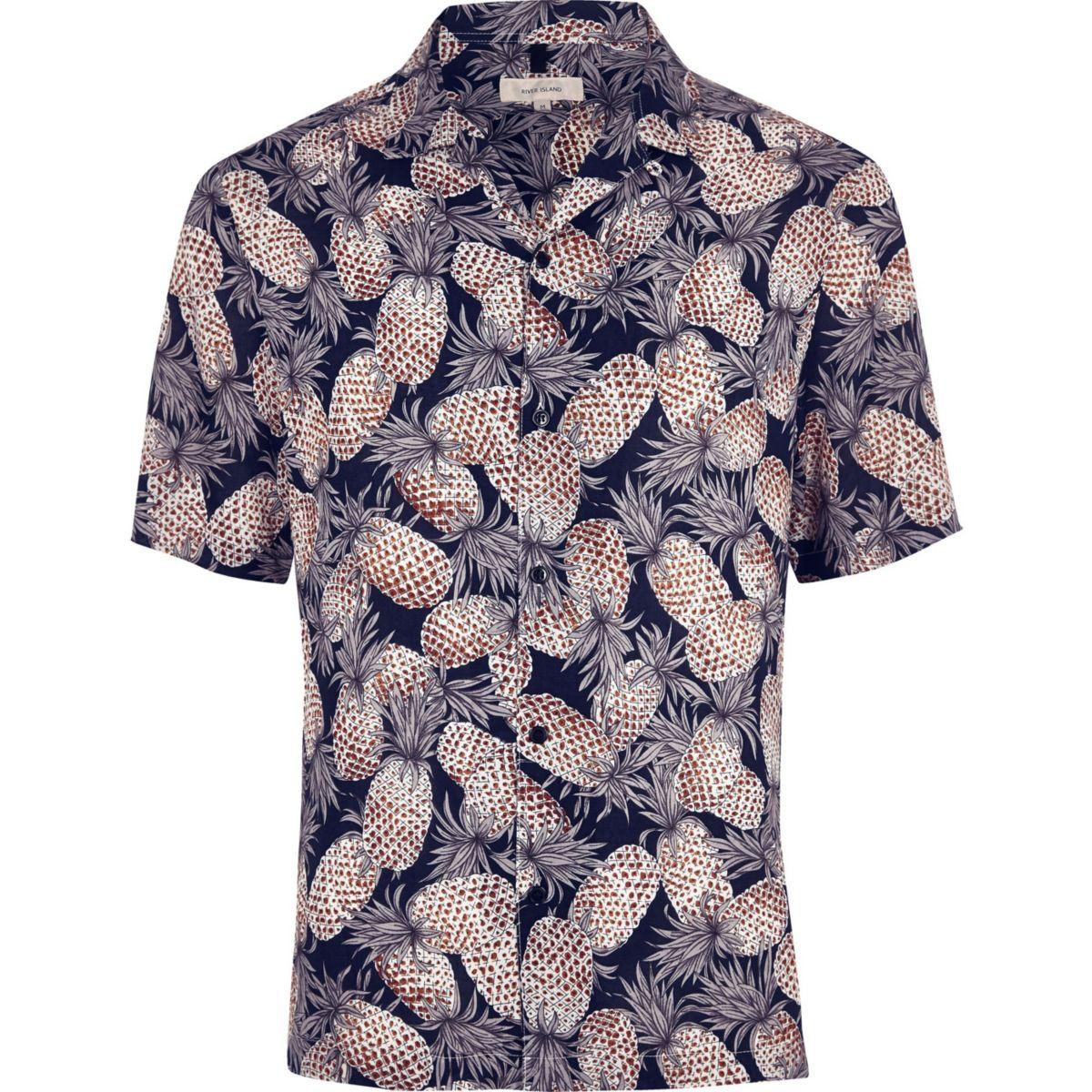 Big and Tall - Marineblauw overhemd met korte mouwen en print