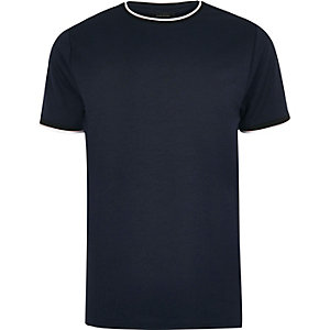 Navy contrast tipped slim fit T-shirt