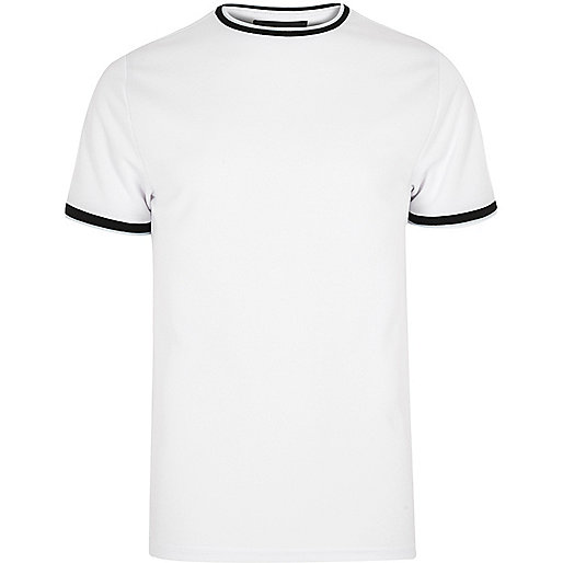 White contrast tipped slim fit T-shirt