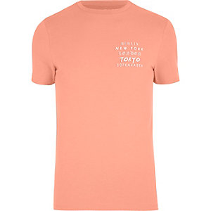 Orange washed city print muscle fit T-shirt