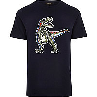 Navy blue dinosaur slim fit T-shirt