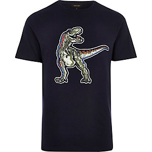 Navy blue dinosaur slim fit T-shirt