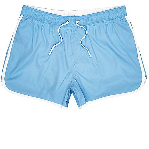 Light blue tipped short swim trunks