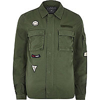Green Jack & Jones badge field jacket