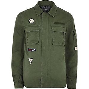 Green Jack & Jones badge field jacket
