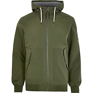 Green Jack & Jones lightweight hooded jacket