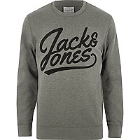 Green Jack & Jones contrast print sweatshirt