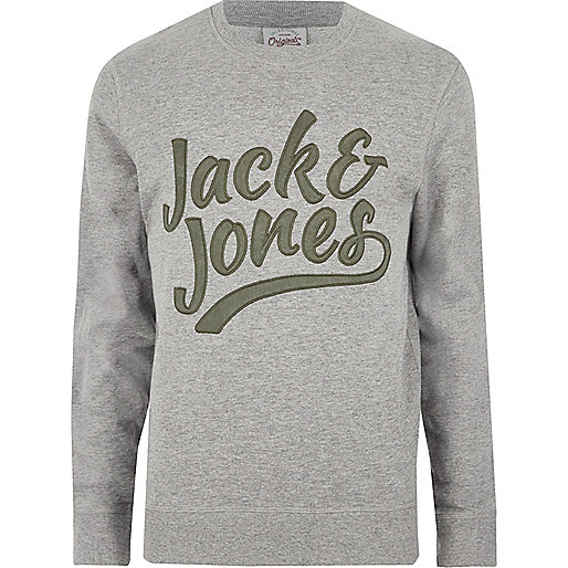 Grey Jack & Jones contrast print sweatshirt