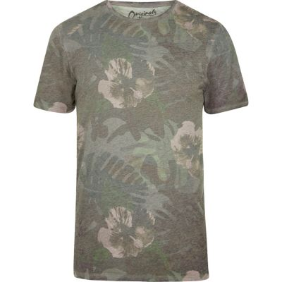 Jack and Jones Groen T-shirt met bloemenprint